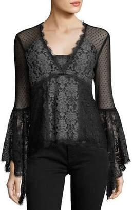 Nanette Lepore West End V-Neck Long-Sleeve Lace Blouse