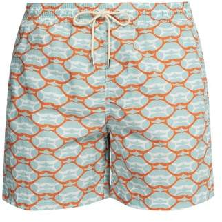 Le Sirenuse Le Sirenuse, Positano - Lips Printed Swim Shorts - Mens - Green Multi