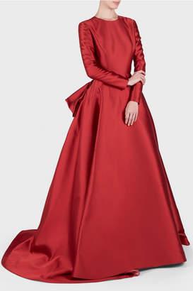 Reem Acra Mikado Scuba Long Sleeve Ball Gown