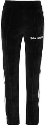 Palm Angels Striped Cotton-blend Velour Track Pants - Black