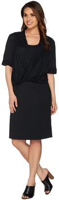 Halston H By H by Knit Dress with Twist Front Detail