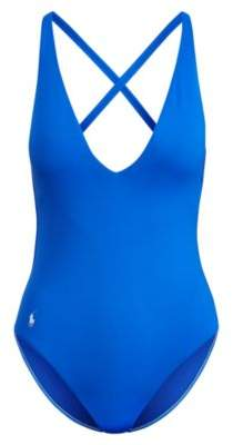 Ralph Lauren V-Neck One-Piece Swimsuit French Blue Xs