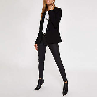 River Island Black long sleeve fitted knit blazer