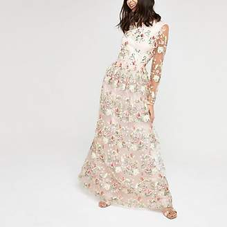River Island Chi Chi London pink mesh embroidery dress