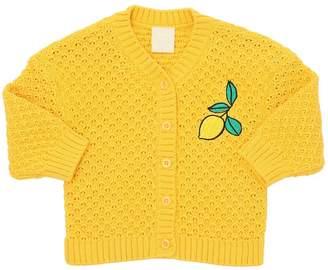 Mini Rodini Embroidered Organic Cotton Knit Cardigan