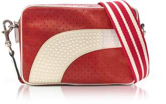 RED Valentino Strawberry/milk White Perforated Leather Crossbody Bag W/studs