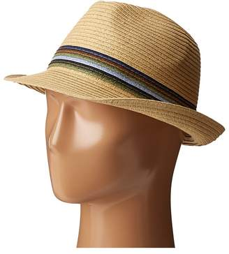 San Diego Hat Company UBF1019 Paper Braid Fedora Hat with Multicolor Inset Around Crown Fedora Hats