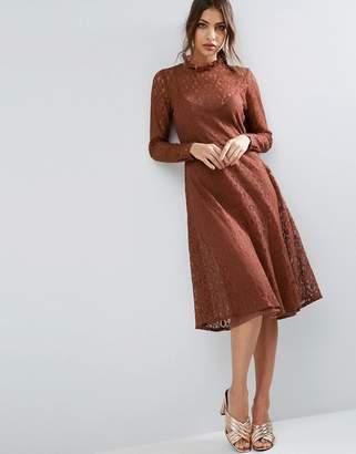 Asos Design Lace Midi Dress with Neck Detail