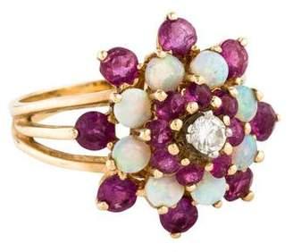 Ring 14K Opal, Ruby, & Diamond Cocktail