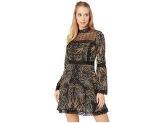 Cupcakes And Cashmere Jaida Mesh Yoke Print Dress