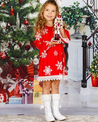 Mia Belle Girls Red White Snowflake Dress