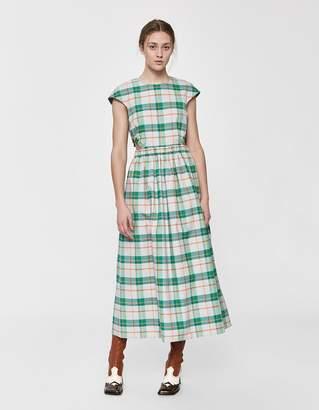 Tibi Hani Plaid Cap Sleeve Dress