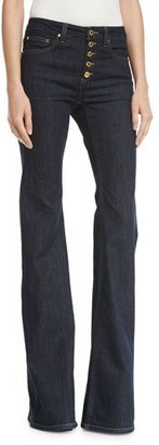 MICHAEL Michael Kors Selma Button-Front Mid-Rise Flared Jeans $110 thestylecure.com