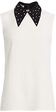 Miu Miu Women's Crystal Embellished Point Collar Blouse