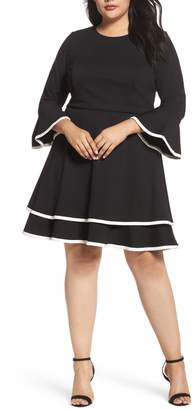 Eliza J Bell Sleeve Tiered Fit & Flare Dress