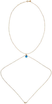 Jacquemus Gold and Blue La perle bleue Body Chain Necklace