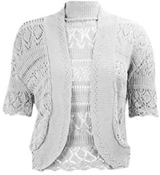 RIDDLED WITH STYLE Womens Chorochet Knitted Bolero Shrug Top Ladies Short Sleeve Cardigan Crop Top#( Knitted Bolero Shrug##Womens)