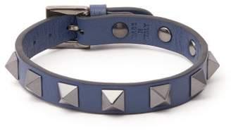 Valentino Rockstud Leather Bracelet - Mens - Navy
