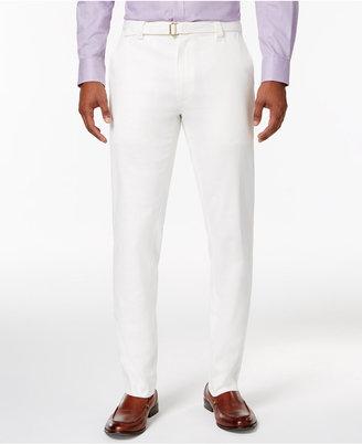 Sean John Men's Slim-Straight Fit Belted Cream Linen Suit Pants $79.50 thestylecure.com