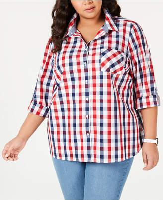 Tommy Hilfiger Plus Size Galleon Gingham Button-Up Shirt