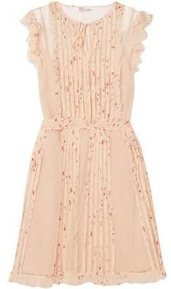 cd32abb82a3f RED Valentino Printed Georgette-trimmed Point D'esprit Mini Dress