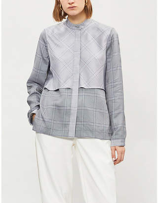 Dion Lee Overlay checked crepe shirt