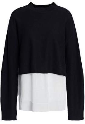 Joseph Layered Striped Poplin And Knitted Sweater