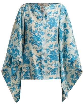 By Walid Camilla Floral Print Silk Blouse - Womens - Blue Print
