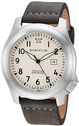 Momentum Men's 'Steelix Sapphire' Quartz Stainless Steel and Leather Casual Watch