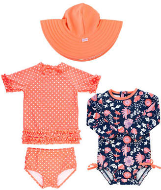 RuffleButts Botanical-Print & Polka-Dot 4-Piece Swim Layette Set, Size 3-24 Months