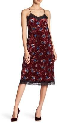 Moon River Floral Lace Trim Velvet Midi Dress