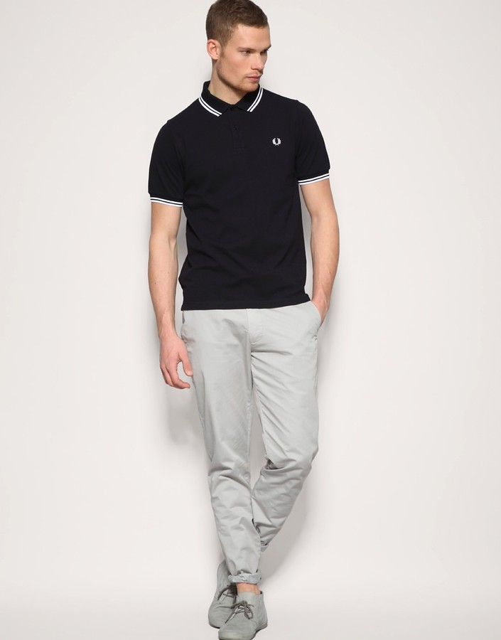 Fred Perry Slim Fit Polo with Twin Tipped in Blue