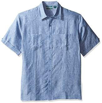 Cubavera Men's Short Sleeve 100% Linen Guayabera Shirt with Two Top Pockets