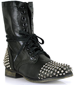 Steve Madden Tarnney - Black Leather Studded Motorcycle Boot
