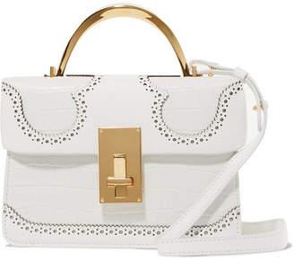 THE VOLON - Data Alice Laser-cut Croc-effect Leather Shoulder Bag - White