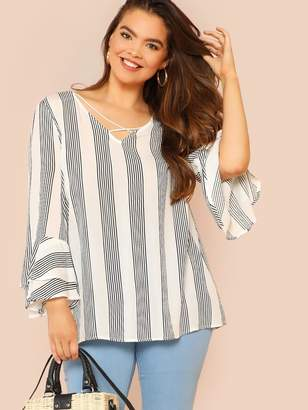 7e56e2a1c43ab Shein Plus Criss Cross Front Flounce Sleeve Striped Blouse