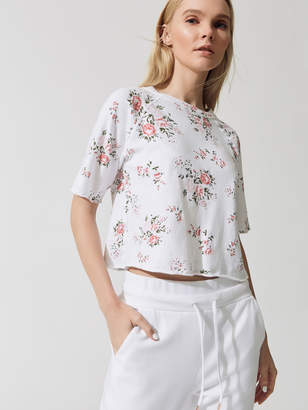 Cut Off Sweatshirt With Floral Print