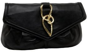 SONDRA ROBERTS NEW YORK Clutch with Gold Twisted Hardware