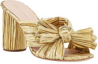 Loeffler Randall Penny Pleated Lamé Slide Sandal