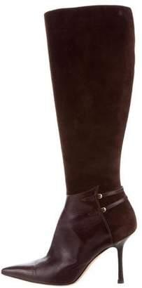 Oscar de la Renta Suede Pointed-Toe Knee Boots