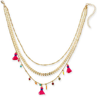 """INC International Concepts I.N.C. Gold-Tone Multicolor Bead & Tassel 15"""" Layered Necklace, Created for Macy's"""