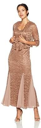 R & M Richards R&M Richards Women's Petite Size 2 Piece Long Metalic Lace Jacket Dress
