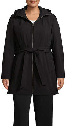Liz Claiborne Woven Hooded Belted Water Resistant Midweight Softshell Jacket-Plus