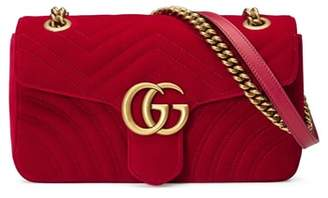 Gucci Medium GG Marmont 2.0 Matelasse Velvet Shoulder Bag