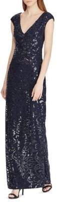 Lauren Ralph Lauren Embroidered Mesh Gown