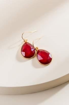 francesca's Bree Faceted Teardrop Earrings in Burgundy - Burgundy