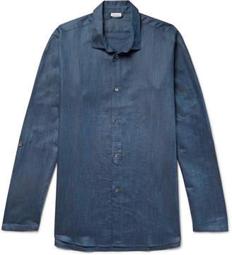 Zimmerli Melange Linen and Cotton-Blend Pyjama Shirt - Men - Blue