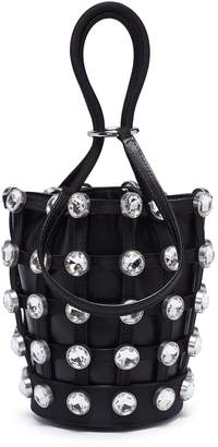 Alexander Wang 'Roxy' glass stud mini cage leather bucket bag