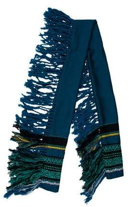 Burberry Fringed Jacquard Wool Scarf