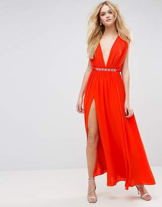 Asos Deep Plunge Embellished Waist Maxi Dress